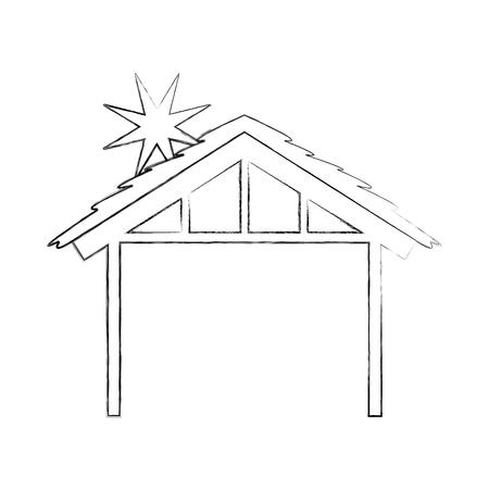 나무 오두막집 집사 디자인 이미지 벡터 일러스트 레이션 일러스트
