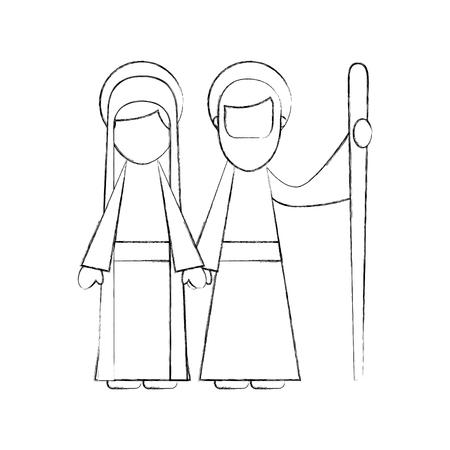 キリスト降誕、聖母マリアとヨセフを祝福ベクトル図