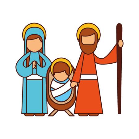 크리스마스 출생 장면 신성한 가족 예수님 메리와 조셉 벡터 일러스트 레이션 일러스트
