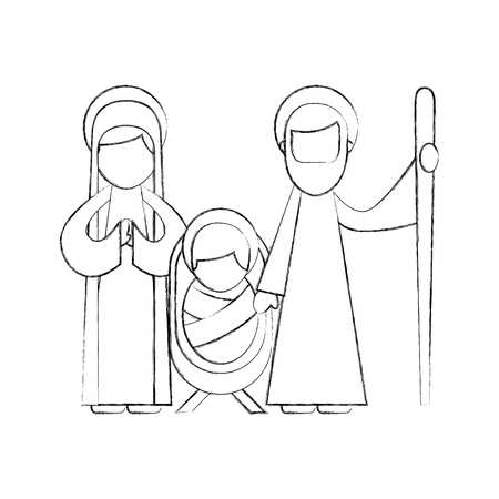 christmas nativity scene holy family jesus mary and joseph vector illustration