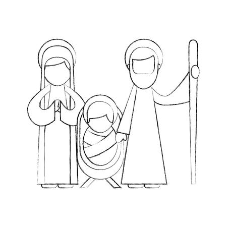 Navidad natividad escena sagrada familia Jesús María y José ilustración vectorial Foto de archivo - 88083167