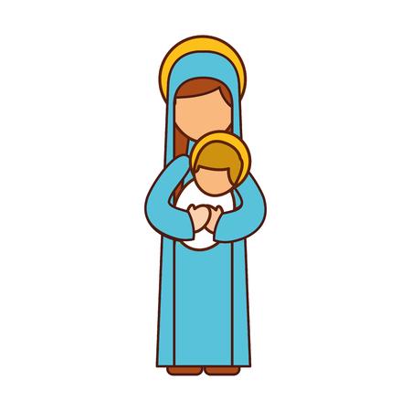 Vierge, marie, tenue, bébé, jésus, chrétien, noël, vecteur, illustration Banque d'images - 88083174