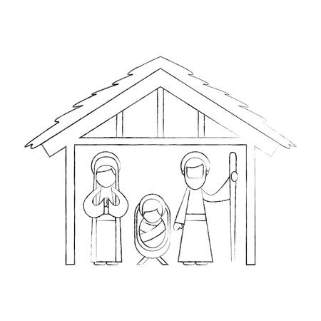 伝統的な家族のクリスマス飼い葉桶場面赤ちゃんイエス処女マリアと聖ヨセフ