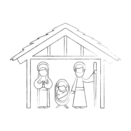 traditional family christmas manger scene baby jesus virgin mary and saint joseph