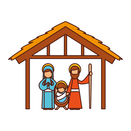 traditional family christmas manger scene baby jesus virgin mary and saint joseph vector illustration Illustration
