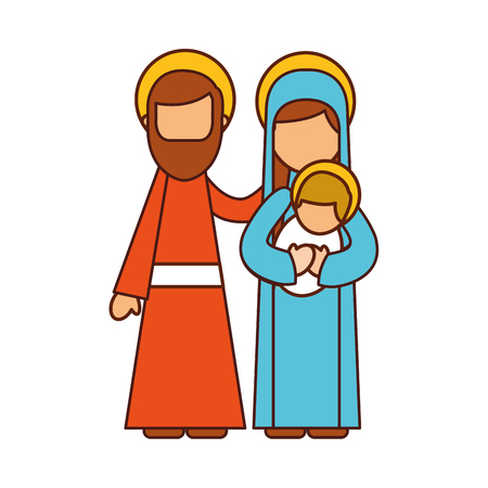 nativity scene of joseph and mary holding baby jesus vector illustration 版權商用圖片 - 88090140