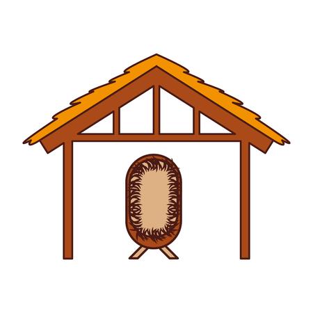 Casa di capanna di legno e presepe manger illustrazione vettoriale di illustrazione di immagine Archivio Fotografico - 88090143