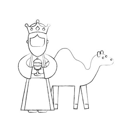 낙타 관리자 만화 캐릭터와 벡터 현명한 왕이 만화 일러스트