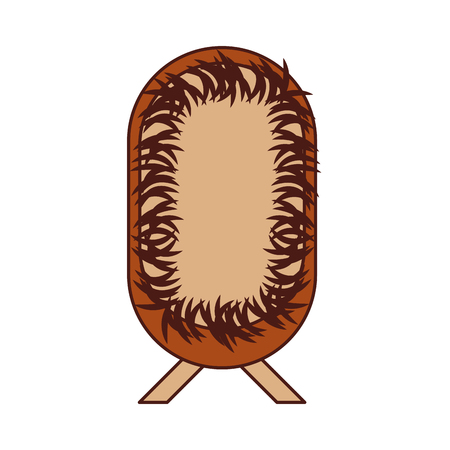straw cradle manger christianity element icon vector illustration