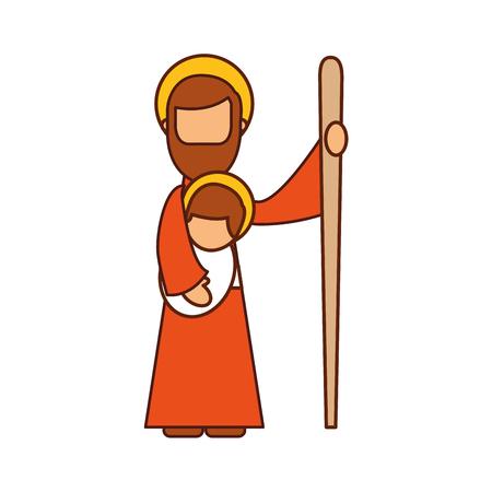 saint joseph holding baby jesus christ christmas manger vector illustration