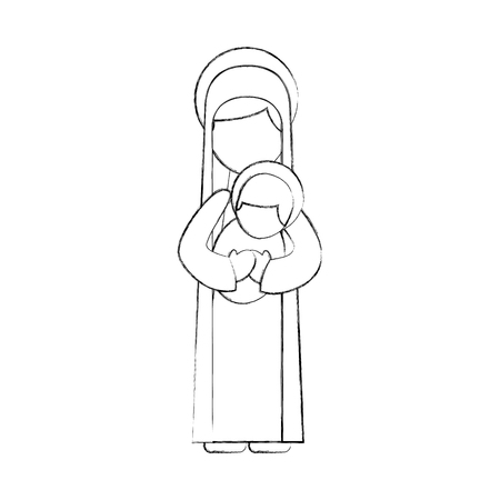 virgin mary holding baby jesus christian and christmas vector illustration Stock Vector - 88225014
