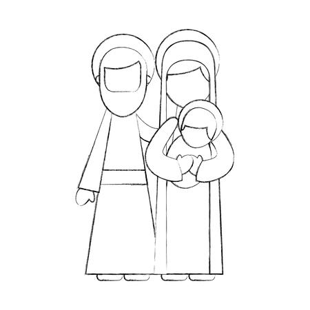 nativity scene of joseph and mary holding baby jesus vector illustration Ilustrace
