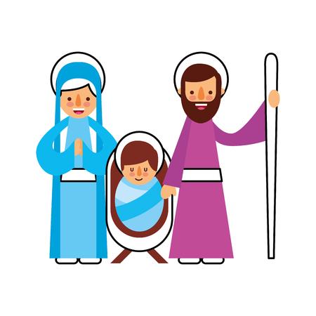 Navidad natividad escena sagrada familia Jesús María y José ilustración vectorial Foto de archivo - 88085081