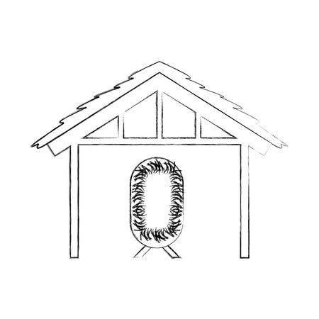 Holzhaus Hütte und Krippe Krippe Design Bild Vektor-Illustration
