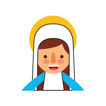 Bendita ilustración de vector de icono de celebración de Navidad santa virgen maría Foto de archivo - 88090380