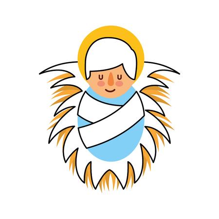 cartoon cute baby jesus christ in the crib vector illustration