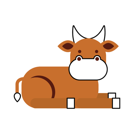 cute: christmas cow animal of manger cartoon vector illustration