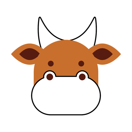 christmas cow animal of manger cartoon vector illustration