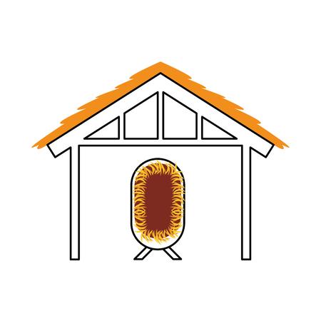 Casa di capanna di legno e presepe manger illustrazione vettoriale di illustrazione di immagine Archivio Fotografico - 88084720