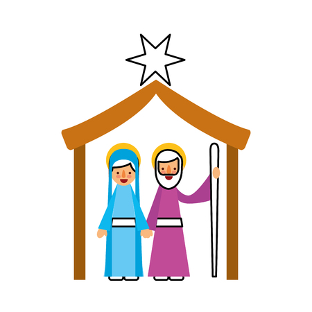 traditional family christmas manger virgin mary and saint joseph vector illustration 向量圖像