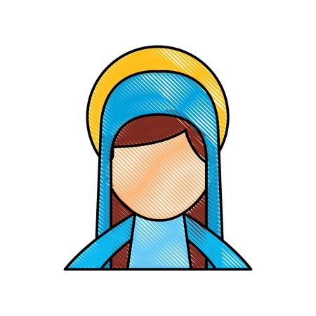 Bonjour sainte vierge marie célébration de noël icône illustration vectorielle Banque d'images - 88084722