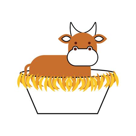 kerststal koe in de houten wieg manger vectorillustratie
