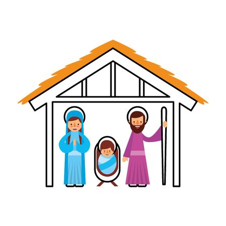 Escena familiar tradicional Navidad manger bebé jesús Virgen María y San José ilustración vectorial Foto de archivo - 88084726