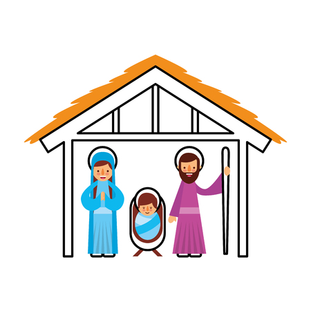 traditional family christmas manger scene baby jesus virgin mary and saint joseph vector illustration 向量圖像