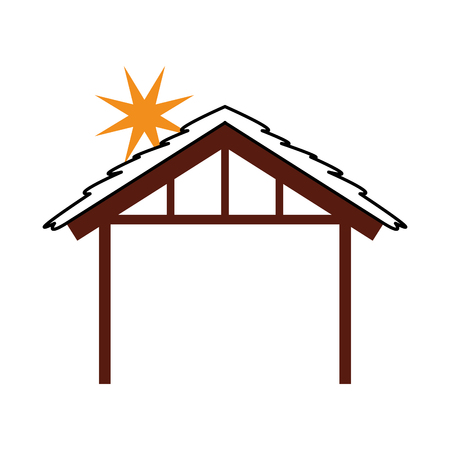 wooden hut house manger design image vector illustration