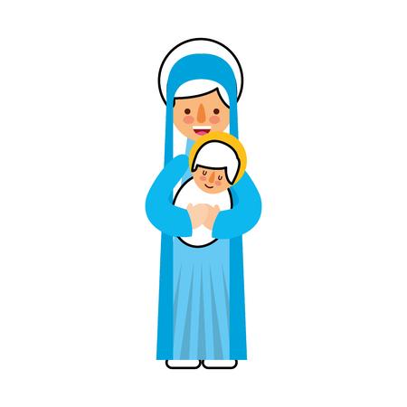 Virgen María con bebé Jesús cristiano y Navidad ilustración vectorial Foto de archivo - 88088759