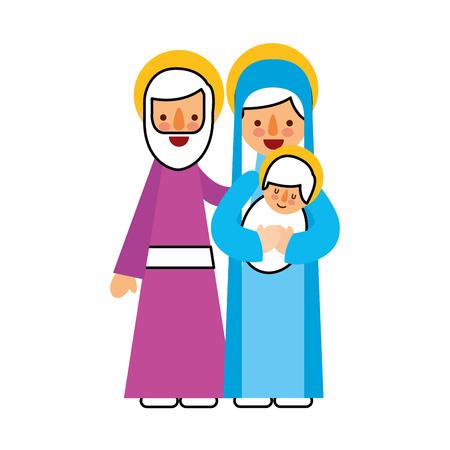 ヨセフとマリヤを保持のキリスト降誕のシーン赤ちゃんのイエスのベクトル図