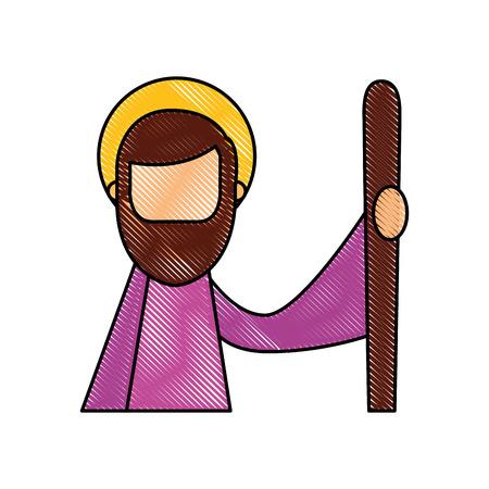 saint joseph father spiritual cartoon christmas vector illustration Banco de Imagens - 88088762