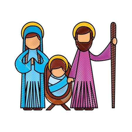 クリスマス キリスト降誕シーンの神聖な家族イエス マリアとヨセフのベクトル図  イラスト・ベクター素材