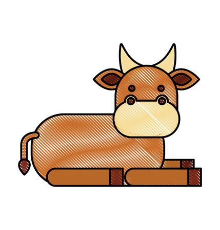 A christmas cow animal of manger cartoon vector illustration Illustration