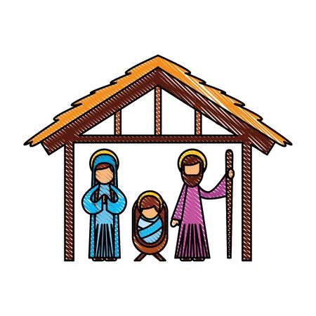 전통적인 가족 크리스마스 걸이 장면 아기 예수님 처녀 메리와 성자 조셉 벡터 일러스트 레이션