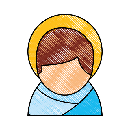 Cartoon cute baby jesus christ christmas image vector illustration