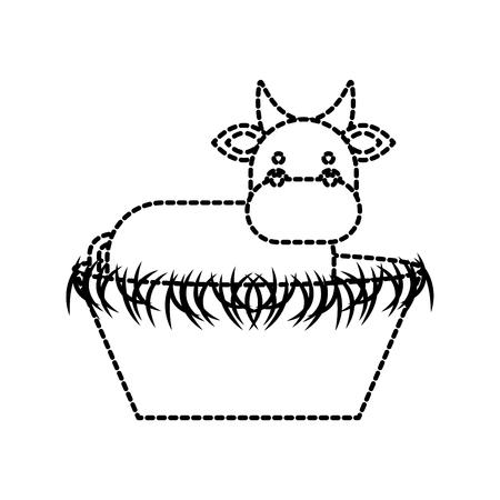 Geboorte van Christuskoe in de houten wieg kribbe vectorillustratie Stock Illustratie