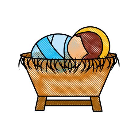 Cartoon cute baby in the crib vector illustration