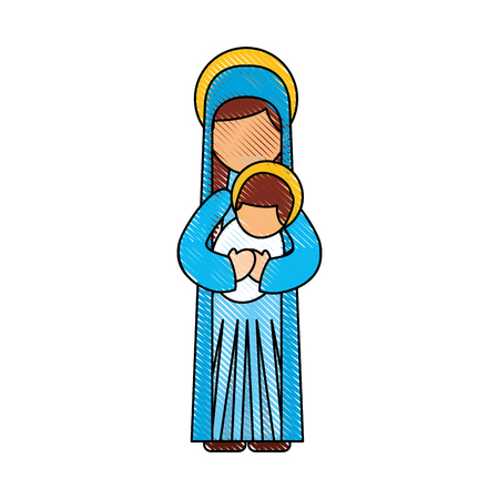 Mother and child christmas vector illustration