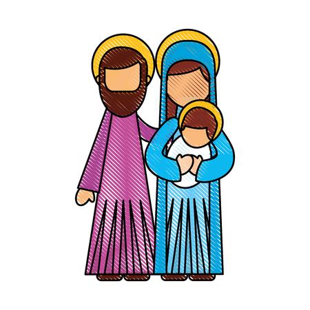 조셉과 메리 들고 아기 예수님 벡터 일러스트 레이 션의 출생 장면