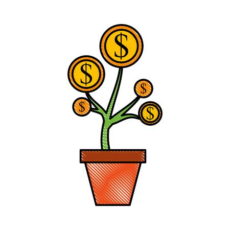 flowerpots: Dollar coin plant finance vector illustration concept.