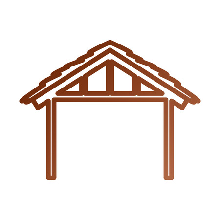 A wooden hut manger design image vector illustration Çizim