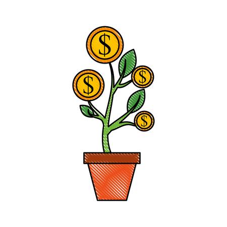 dollar golden coin plant inside pot finance vector illustration Illustration