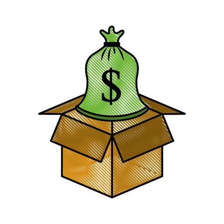 Karton mit Sack Geld speichern Bank Konzept Vektor-Illustration Standard-Bild - 88082669