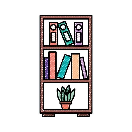 furniture bookcase books folder and pot plant decoration vector illustration