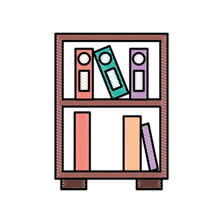library wooden bookcase of stacked books standing style vector illustration Çizim