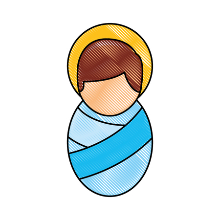 cartoon cute baby jesus christ christmas image vector illustration