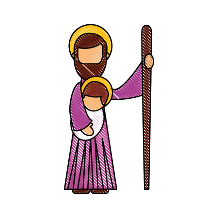 saint joseph holding baby jesus christ christmas manger vector illustration Zdjęcie Seryjne - 88089094