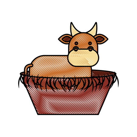nativity cow in the wooden cradle manger vector illustration