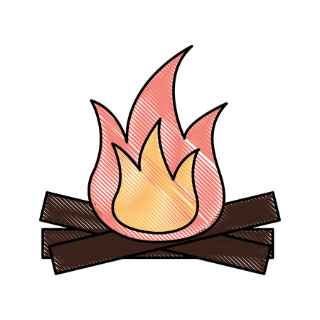 ホットおよびウォームの焚き火炎木のベクトル図